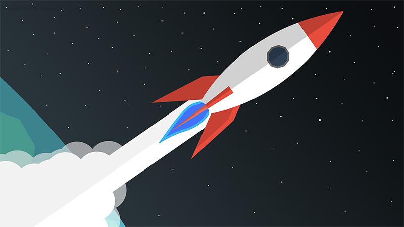 illustration de fusée dans l'espace pour un site web rapide