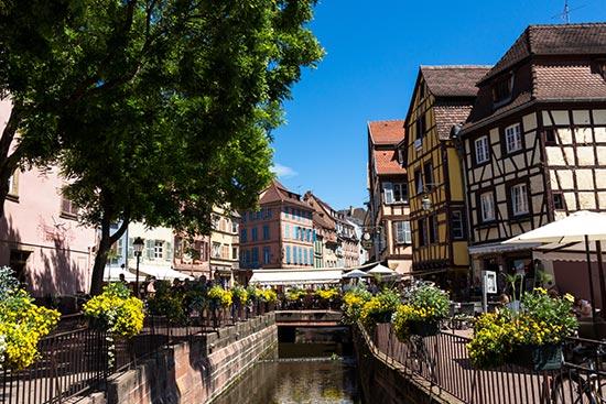 Petite Venise à Colmar, restaurants et touristes